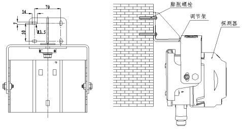 囹���c.�`m���z!깢�y�+9.:hm_海湾jty-hm-gst9615防爆型线型光束感烟火灾探测器安装调节架外形示意
