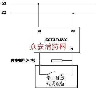 海湾模块接线图_海湾输入监视模块接线图GST-LD-8300-海湾消防设备接线图-众安消防网