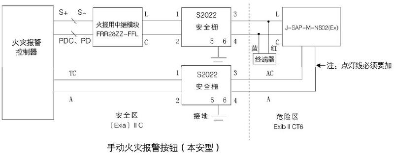能美s2022齐纳式安全栅接线图
