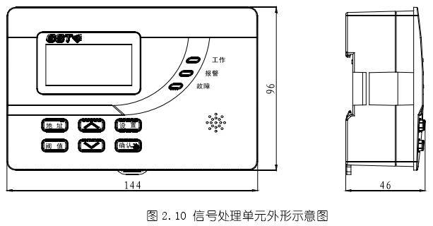海湾DH-GSTN5300剩余电流式电气火灾监控探测器(圆孔电缆)信号处理单元示意图